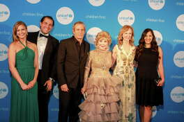 Princess Tatiana Galitzine, from left, Guillermo Sierra, Michael Bolton, Joanne King Herring, Susan Sarofim, and Sippi Khurana at the UNICEF Audrey Hepburn Society Ball.  (For the Chronicle/Gary Fountain, May 24, 2017)