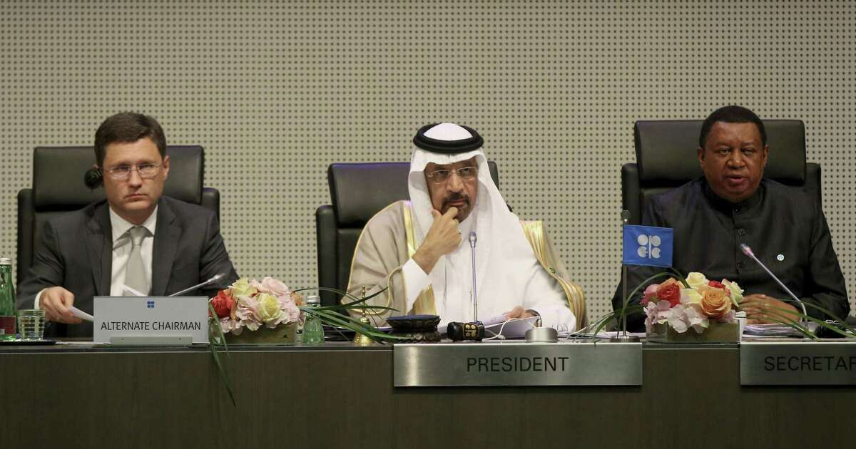 Russian Minister of Energy Alexander Novak (from left), Khalid Al-Falih, Minister of Energy, Industry and Mineral Resources of Saudi Arabia and Mohammad Sanusi Barkindo, OPEC Secretary General of Nigeria attend a meeting of the Organization of the Petroleum Exporting Countries at their headquarters in Vienna, Austria on Thursday.