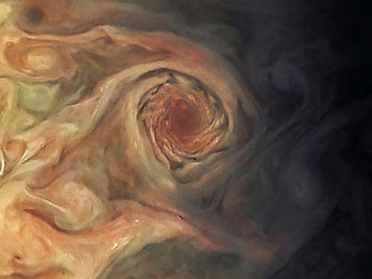 This image taken by JunoCam shows the planet's Little Red Spot