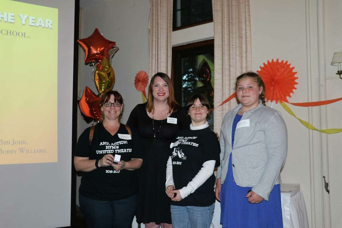 Members of New Fairfield Middle School's Unified Theater program accepted awards at the Unified Theater organization's Rockstar Awards Banquet May 12.