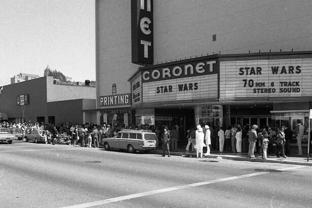 """It was March 28, 1977, the first Saturday after the """"Star Wars"""" Wednesday opening. The Coronet was the only theater for 50 miles playing the space opera, but it seated more than 1,300 ... most of whom appear to be in this line."""