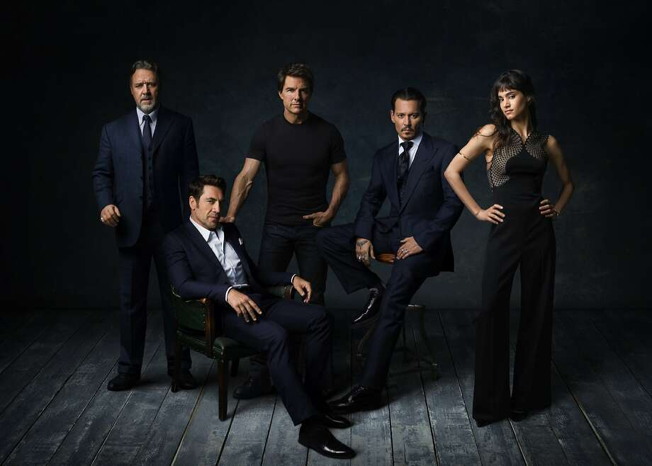 Russell Crowe (left), Javier Bardem, Tom Cruise, Johnny Depp and Sofia Boutella are on board for Universal's monster-movies franchise. Photo: Universal Pictures