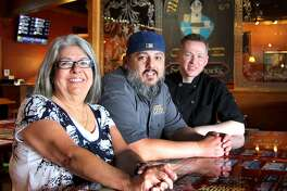 Widow Brown's Cafe Owner Aura Showah, General Manager J.T. Wilson and Head Chef Joe Fox in the 40-year-old establishment on Wednesday on Federal Road in Danbury.