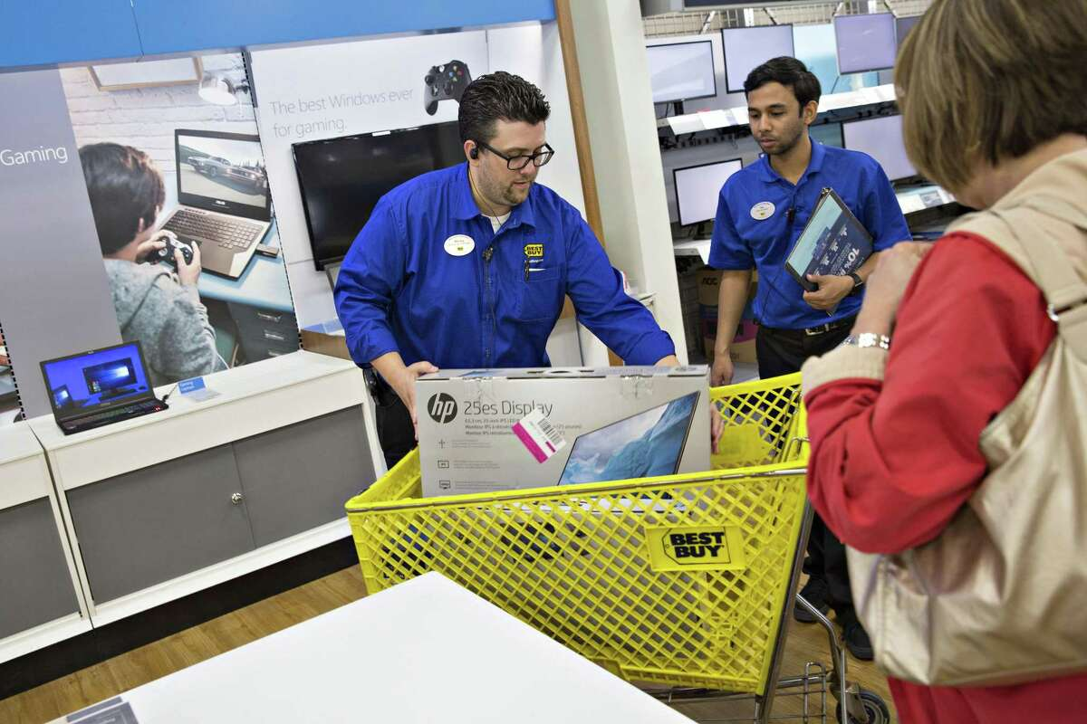 Shares of Best Buy surged as much as 19 percent to $59.92 in New York trading, the biggest intraday increase since August. They had gained 18 percent this year through Wednesday's close.