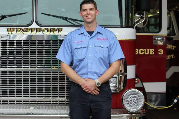 Firefighter James Branson at the the fire department's headquarters in Westport.