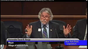 Hoosick Falls Mayor David Borge testifies at the Joint Committee on Water Quality and Contamination on Sept. 7, 2016. (NYS Senate video)
