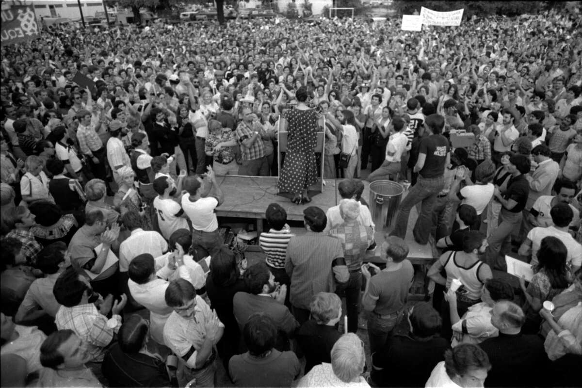 In this photo: Actress Liz Torres speaks in 1977 at the rally gathered to protest singer Anita Bryant's outspoken stand against gay rights. Bryant was in Houston to perform at the State Bar of Texas dinner at the Hyatt Regency.
