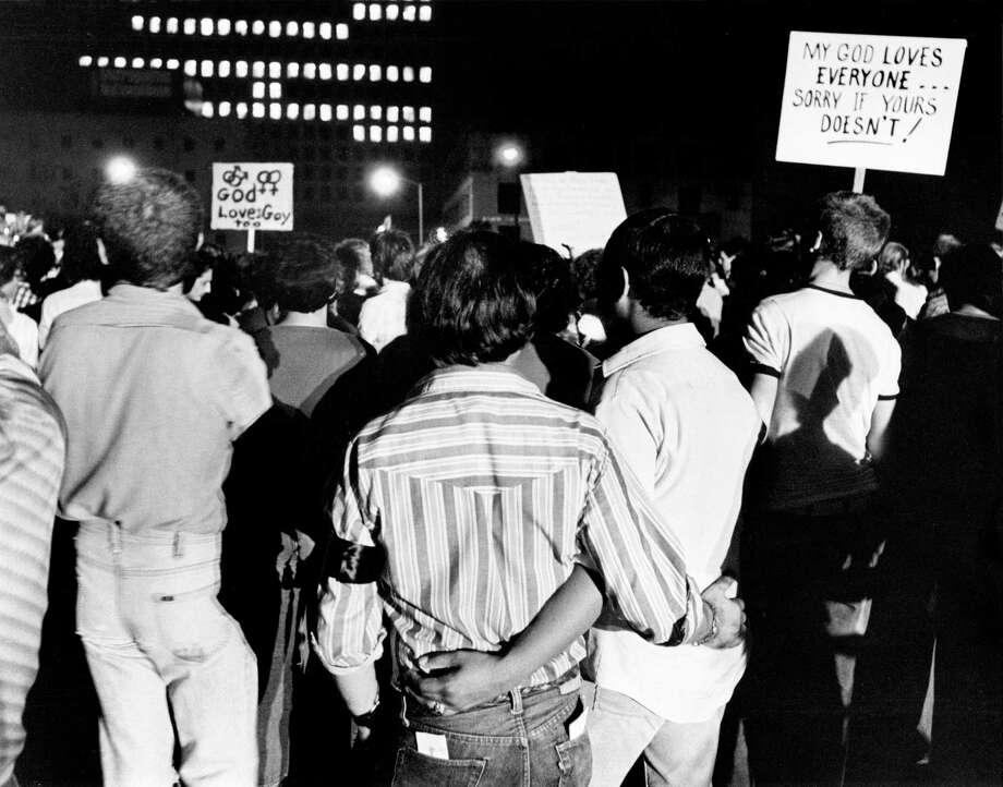 In this photo: About 3,000 people, including members and supporters of Houston's gay community, march to the Houston Public Library plaza in protest of singer Anita Bryant. Photo: Othell O. Owensby Jr., Houston Chronicle / Houston Chronicle