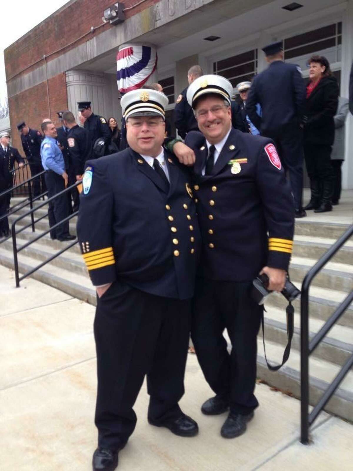 Newly promoted Chief Jerry Myers (left) with Danbury Deputy Fire Chief Meehan.