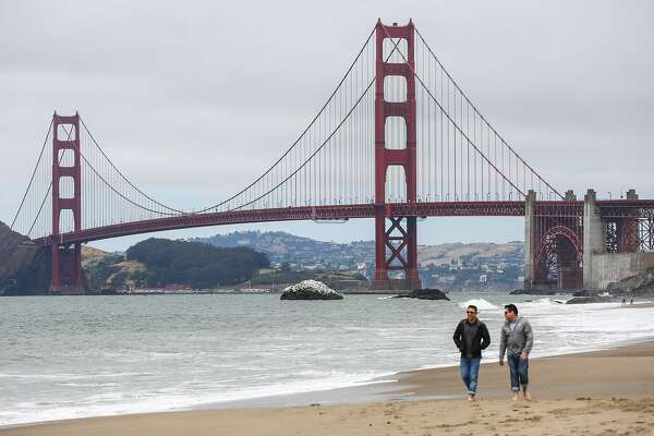 A view of the Golden Gate Bridge from Baker Beach in San Francisco, California, on Wednesday, May 24, 2017.