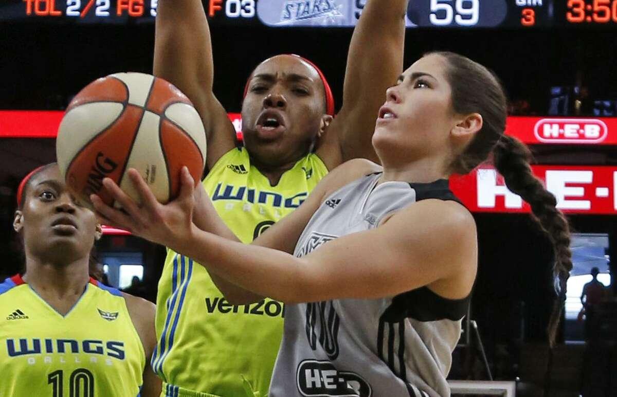 Stars' Kelsey Plum drives in front of the Dallas Wings' Kayla Thornton on May 25, 2017.