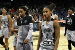 Stars' Moriah Jefferson and the rest of her teammates walk off the court after losing a WNBA game at home against Dallas on May 25, 2017.