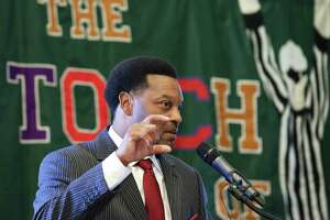 Texas A&M University football head coach Kevin Sumlin answers questions from the audience during the Touchdown Club of Houston luncheon at Bayou City Events Center Thursday, May 25, 2017, in Houston.