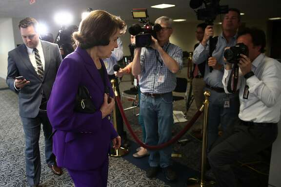 WASHINGTON, DC - MAY 23:  Sen. Dianne Feinstein, a member of the Senate Select Committee on Intelligence, arrives for a briefing on Capitol Hill May 23, 2017 in Washington, DC. The committee was expected to be briefed on the recent attack in Manchester during the briefing.  (Photo by Win McNamee/Getty Images)