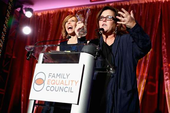 """NEW YORK, NY - MAY 08:  Maddie Corman and Rosie O'Donnell speak on stage at Family Equality Council's """"Night at the Pier"""" at Pier 60 on May 8, 2017 in New York City.  (Photo by Astrid Stawiarz/Getty Images for Family Equality Council)"""