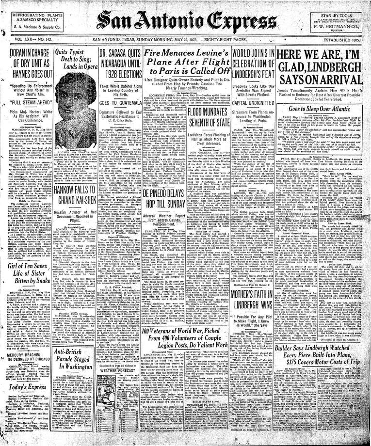 Front page of May 22, 1927 Express. American aviator Charles Lindbergh made the first solo nonstop flight across the Atlantic Ocean in 1927. Photo: DIGITIZED MICROFILM