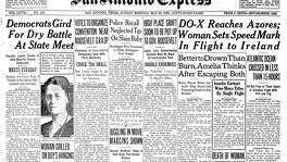 Front page May 22, 1932. Aviatrix Amelia Earhart becomes not only the first woman to fly across the Atlantic but does it solo as well. Newspaper accounts from the time referred to her as Amelia Earhart, or simply Amelia, in headlines, and by her married name, Putnam, on second reference, in text.