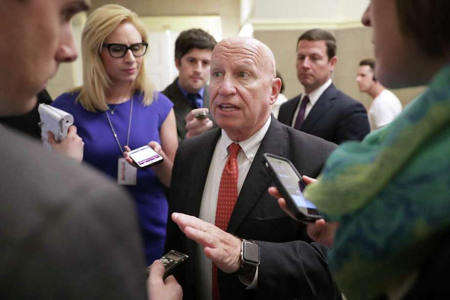 House Ways and Means Committee Chairman Kevin Brady, R-The Woodlands, is surrounded by reporters following a meeting with House Speaker Paul Ryan and White House officials at the U.S. Capitol May 17. Photo: Chip Somodevilla /Getty Images / 2017 Getty Images