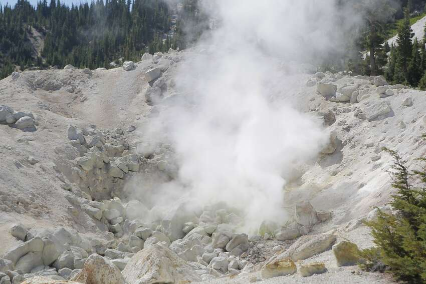 Stumble around hydrothermalfumaroles and boiling mud pits on the aptly named Bumpass Hell trail in Lassen Volcanic National Park. The largest fumarole (steam and gas vent) is called Big Boiler. it's known to reach 322 degrees F.