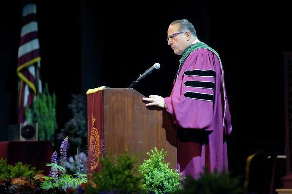 Vincent Verdile, MD, and the Dean of the Albany Medical College, addresses those gathered for the school's commencement ceremony at the Saratoga Performing Arts Center on Thursday, May 25, 2017, in Saratoga Springs, N.Y.   (Paul Buckowski / Times Union)