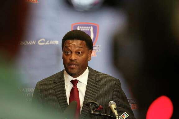 Texas A&M University football head coach Kevin Sumlin speaks to the media about his team during a press conference before the Touchdown Club of Houston luncheon at Bayou City Events Center Thursday, May 25, 2017, in Houston. ( Yi-Chin Lee / Houston Chronicle )