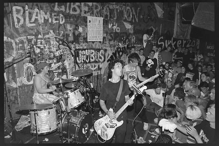 "Green Day performs at 924 Gilman in the late 1980s. The Berkeley club is at the center of the documentary ""East Bay Punk."""
