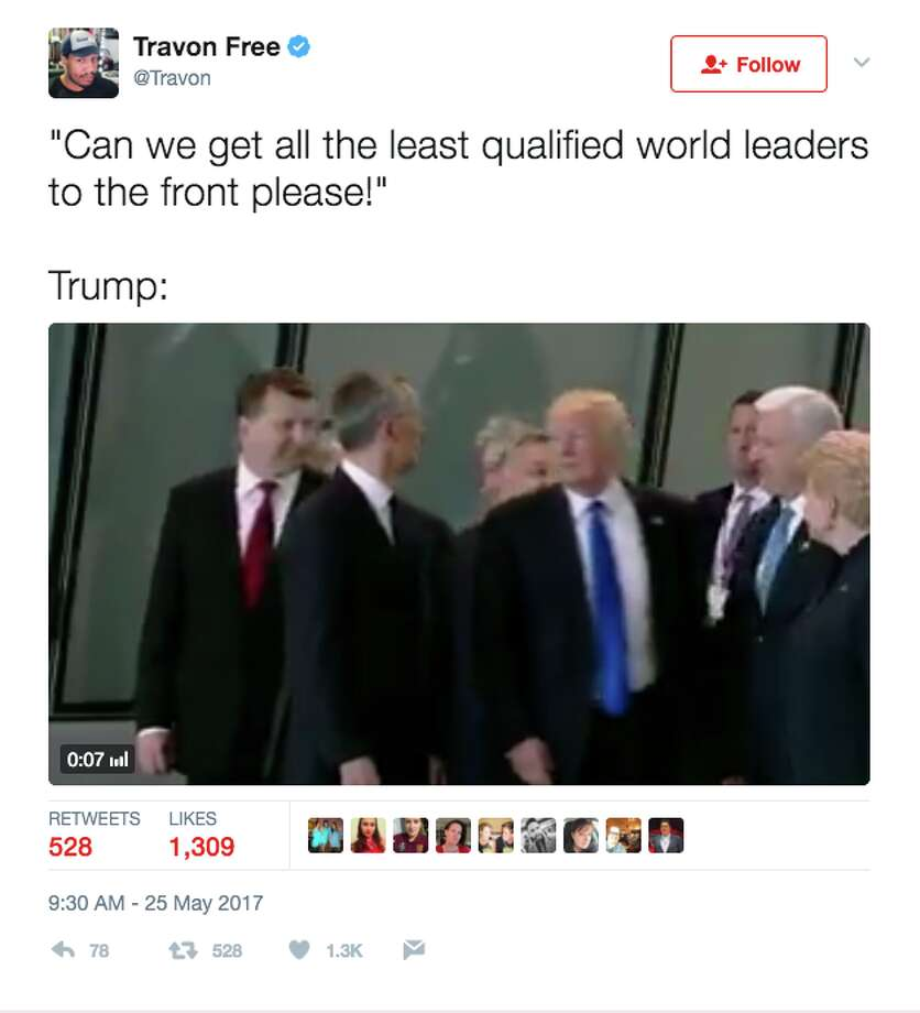Twitter responds after President Donald Trump appears to shove the prime minister of Montenegro. Photo: Twitter Screen Grab
