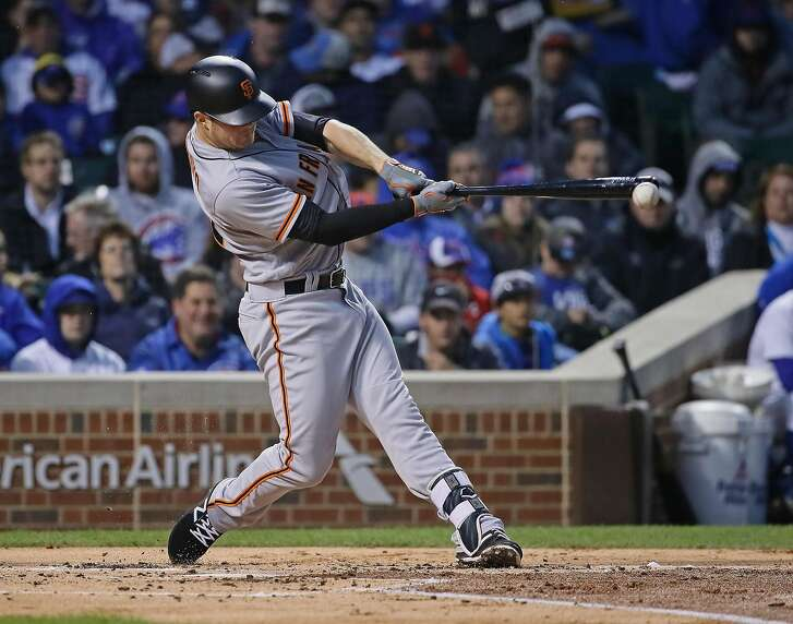 CHICAGO, IL - MAY 24:  Christian Arroyo #22 of the San Francisco Giants drives in a run on a fielder's choice in the 2nd inning against the Chicago Cubs at Wrigley Field on May 24, 2017 in Chicago, Illinois. (Photo by Jonathan Daniel/Getty Images)
