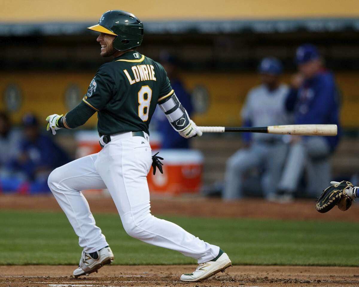 OAKLAND, CA - APRIL 18: Jed Lowrie #8 of the Oakland Athletics at bat against the Texas Rangers during the first inning at the Oakland Coliseum on April 18, 2017 in Oakland, California. The Oakland Athletics defeated the Texas Rangers 4-2. (Photo by Jason O. Watson/Getty Images)
