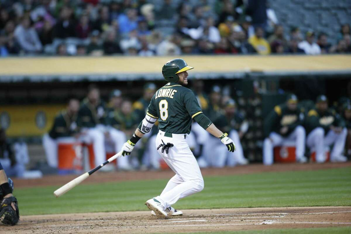OAKLAND, CA - APRIL 20: Jed Lowrie #8 of the Oakland Athletics bats during the game against the Seattle Mariners at the Oakland Alameda Coliseum on April 20, 2017 in Oakland, California. The Athletics defeated the Mariners 9-6. (Photo by Michael Zagaris/Oakland Athletics/Getty Images)