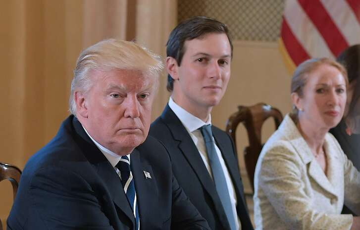 US President Donald Trump (L) and White House senior advisor Jared Kushner take part in a bilateral meeting with Italy's Prime Minister Paolo Gentiloni (not seen) in Villa Taverna, the US ambassador's residence, in Rome on May 24, 2017. After a private audience wit Pope Francis early in the morning Trump's family will fly to Brussels this afternoon for meetings with EU and NATO officials before returning to Italy for the G7 summit in Sicily on May 26-27. / AFP PHOTO / MANDEL NGANMANDEL NGAN/AFP/Getty Images