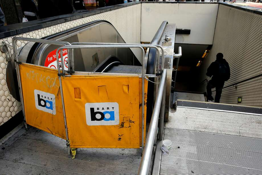 An escalator under repair at the Powell Street BART station in San Francisco on Thursday Jan. 19, 2017. Photo: Michael Macor, The Chronicle