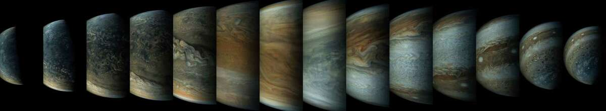This image is a sequence of enhanced-color images showing how quickly the viewing geometry changes for NASA's Juno spacecraft as it swoops by Jupiter.