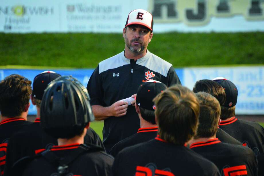 Edwardsville coach Tim Funkhouser talks to his team after a loss to Waterloo in the final game of the regular season Monday at GCS Stadium in Sauget. The Tigers will play Belleville West at 10 a.m. Saturday in the regional title game at Tom Pile Field.