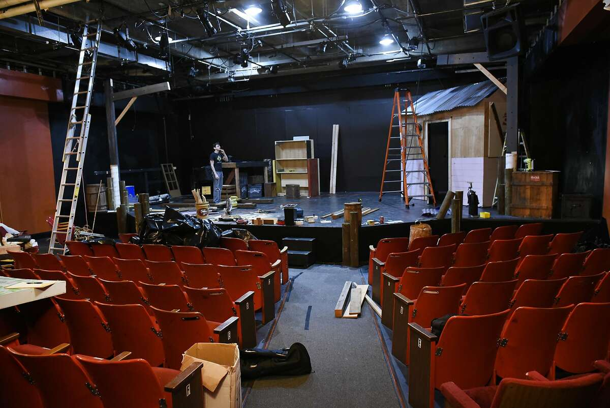 """Stagehands build sets for 42nd Street Moon's production of """"New Girl In Town,"""" at the Eureka Theatre in San Francisco, which is shared with Theatre Rhinoceros."""