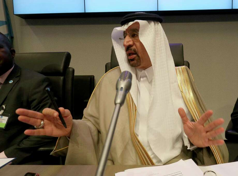 Khalid Al-Falih Minister of Energy, Industry and Mineral Resources and President of the OPEC Conference of Saudi Arabia speaks to journalists prior to the start of a meeting of the Organization of the Petroleum Exporting Countries, OPEC, at their headquarters in Vienna, Austria, Thursday, May 25, 2017. (AP Photo/Ronald Zak) Photo: Ronald Zak, STR / Copyright 2017 The Associated Press. All rights reserved.