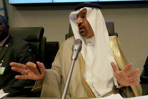 Khalid Al-Falih Minister of Energy, Industry and Mineral Resources and President of the OPEC Conference of Saudi Arabia speaks to journalists prior to the start of a meeting of the Organization of the Petroleum Exporting Countries, OPEC, at their headquarters in Vienna, Austria, Thursday, May 25, 2017. (AP Photo/Ronald Zak)