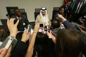 Khalid Al-Falih, president of the OPEC Conference of Saudi Arabia, speaks to journalists prior to the start of a May 25 meeting in Vienna. OPEC and partners agreed to continue production cuts this week.       See the 30 biggest U.S. oil patch deals since the crude price collapse.