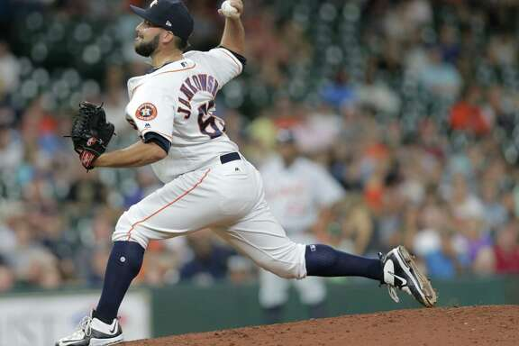 Houston Astros relief pitcher Jordan Jankowski (65) pitches in the top of the ninth inning against the Detroit Tigers on Wednesday, May 24, 2017, in Houston. Astros lead the series 2-0. ( Elizabeth Conley / Houston Chronicle )
