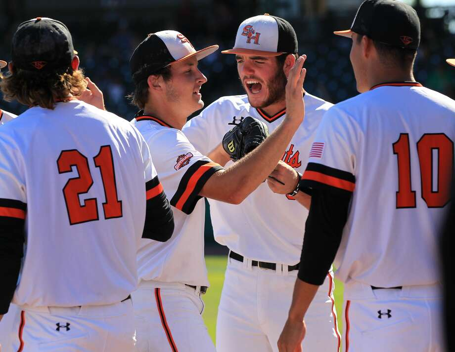 Sam Houston St. pitcher Hayden Wesneski (23) is congratulated as he makes his way off the field in the fourth inning during the 2017 Southland Conference Tournament game against Southeastern Louisiana  at Constellation Field on Thursday, May 25, 2017, in Sugar Land.  ( Elizabeth Conley / Houston Chronicle ) Photo: Elizabeth Conley/Houston Chronicle