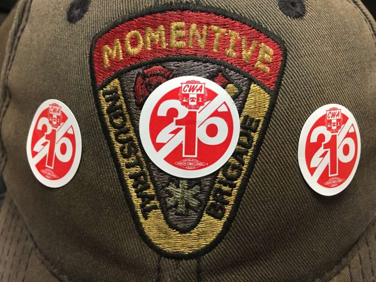 Unionized workers at the Momentive chemical plant in Waterford can wear stickers and other insignia that supports workers fired during the recent strike. This sticker refects that of the 26 fired workers, all but one have returned to work, retired, or taken a voluntary buyout.