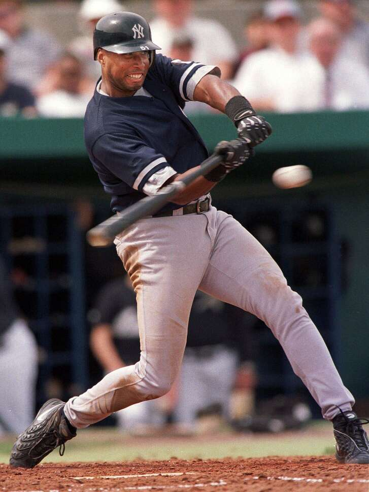 New York Yankees' Bernie Williams connects for a hit during the first inning against the Houston Astros on Tuesday, March 9, 1999, at Osceola County Stadium in Kissimmee, Fla. (AP Photo/Matt York) HOUCHRON CAPTION (03/10/1999): New York's Bernie   Williams connects on a Mike Hampton offering for a first-inning hit in the Yankees' win Tuesday.