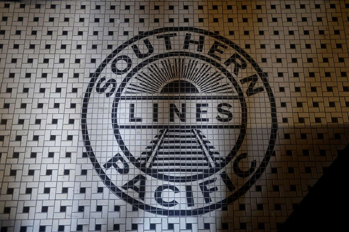 A replica of the Southern Pacific Lines logo was made for the tile flooring at the renovated Orange Train Depot Museum on Wednesday afternoon. The depot will hold an open house on Sunday. Photo taken Wednesday 5/3/17 Ryan Pelham/The Enterprise
