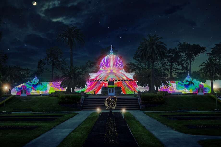 From June 21 through Oct. 21, the Conservatory of Flowers will be lit up with imagery inspired by the Summer of Love. Photo: Courtesy Of Obscura Digital