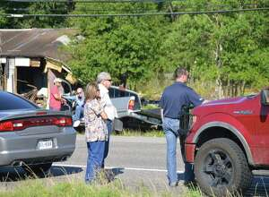 A 10 year-old boy was airlifted Thursday after being struck by a vehicle near the intersection of Texas 87 and FM 62 in Orange County. Officials are investigating the incident.  Photo provided by Eric Williams