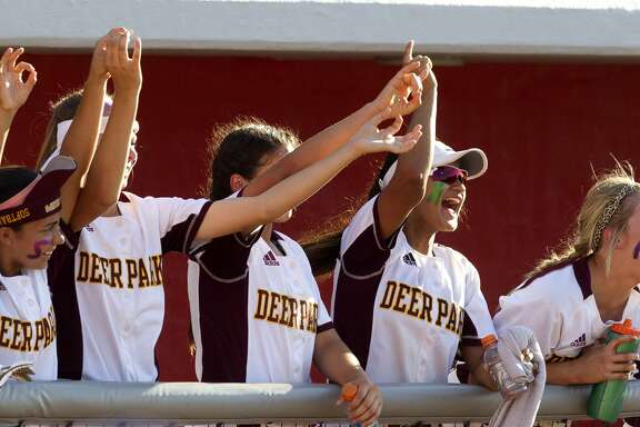 Deer Park players cheer during the sixth inning in Game 1 of a Region III-5A final high school softball series at Cougar Softball Stadium, Thursday, May 25, 2017, in Houston.