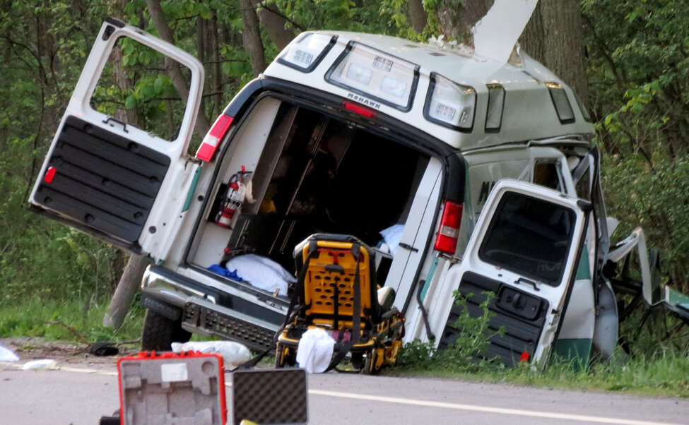 A Mohawk Ambulance crashed into trees along Route 20 on Wednesday evening, May 24, 2017, in Duanesburg, N.Y. The man being transported, Chris Aernecke, died in the crash. (Thomas Heffernan Sr./Special to the Times Union)