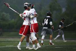 Fairfield Prep celebrates a goal during their victory over Cheshire in the SCC boys lacrosse championship at Ken Strong Field in West Haven, Conn. on Thursday, May 25, 2017.