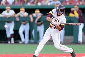 Clay Aguilar (9) of the Deer Park Deer gets a base hit in the second inning against the Ridge Point Panthers in game 1 of the High School Playoffs on Thursday, May 25, 2017 at Darryl & Lori Schroeder Park at the University of Houston in Houston Texas.