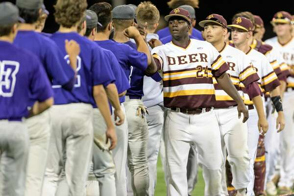 Blake Martin (24) of the Deer Park Deer congratulates the Ridge Point Panthers for their play in game 1 of the High School Playoffs on Thursday, May 25, 2017 at Darryl & Lori Schroeder Park at the University of Houston in Houston Texas.